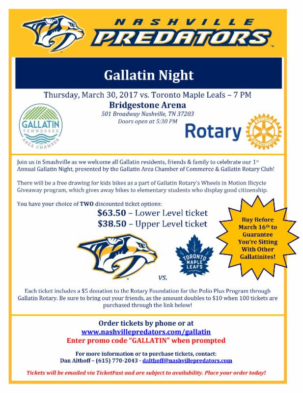 Nashville Preds Gallatin Night @ Bridgestone Arena